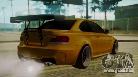BMW 1M E82 without Sunroof pour GTA San Andreas laissé vue