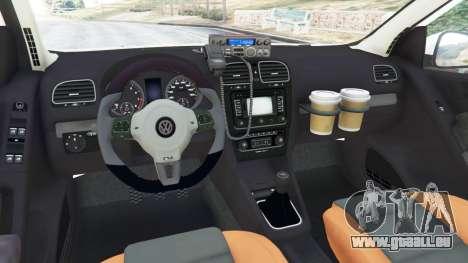 GTA 5 Volkswagen Golf Mk6 Dutch Police arrière droit vue de côté