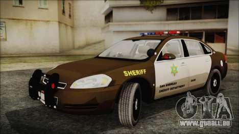 Chevrolet Impala SASD Sheriff Department für GTA San Andreas zurück linke Ansicht