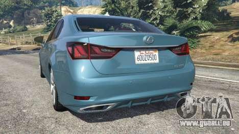 GTA 5 Lexus GS 350 F-Sport 2013 arrière vue latérale gauche