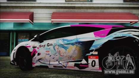 Lamborghini Gallardo LP570-4 2015 Miku Racing pour GTA San Andreas sur la vue arrière gauche