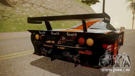 McLaren F1 GTR 1998 Gulf Team pour GTA San Andreas vue de côté