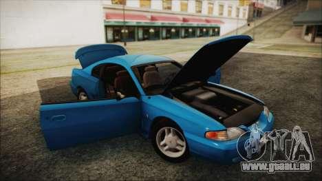 Ford Mustang GT 1993 v1.1 für GTA San Andreas Rückansicht