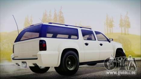GTA 5 Declasse Granger FIB SUV für GTA San Andreas zurück linke Ansicht
