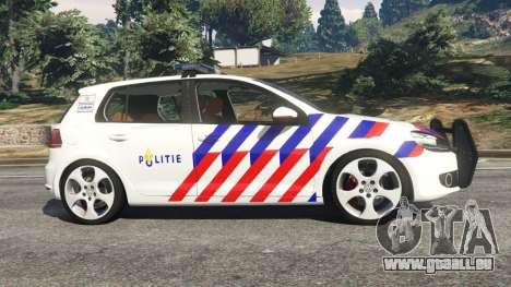 GTA 5 Volkswagen Golf Mk6 Dutch Police vue latérale gauche