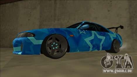 Nissan Skyline R33 Drift Blue Star pour GTA San Andreas sur la vue arrière gauche
