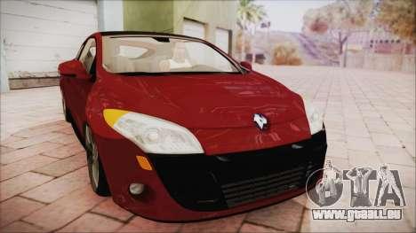Renault Megane 3 pour GTA San Andreas sur la vue arrière gauche