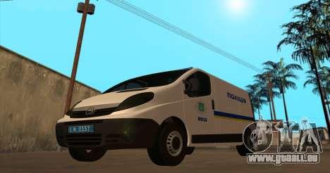 Opel Vivaro Polizei Der Ukraine für GTA San Andreas linke Ansicht