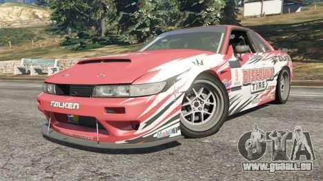 GTA 5 Nissan Silvia S13 v1.2 [with livery] droite vue latérale