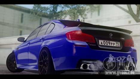 BMW M5 F10 Top Service MSK pour GTA San Andreas sur la vue arrière gauche