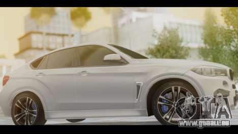 BMW X6M F86 v2.0 pour GTA San Andreas sur la vue arrière gauche