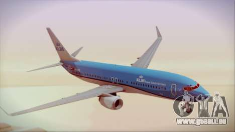 Boeing 737-800 KLM Royal Dutch Airlines für GTA San Andreas zurück linke Ansicht