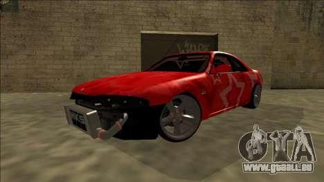 Nissan Skyline R33 Drift Red Star für GTA San Andreas Seitenansicht