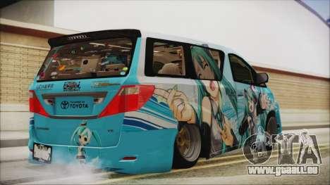 Toyota Alphard Hatsune Miku pour GTA San Andreas laissé vue