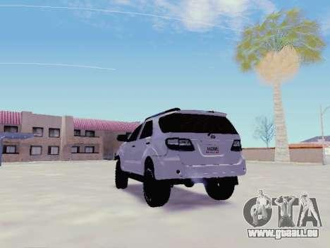 Toyota Fortuner 2012 TRD Off-Road pour GTA San Andreas sur la vue arrière gauche