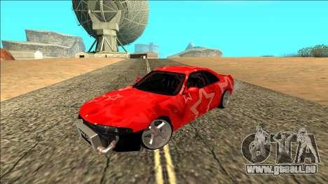 Nissan Skyline R33 Drift Red Star für GTA San Andreas Rückansicht