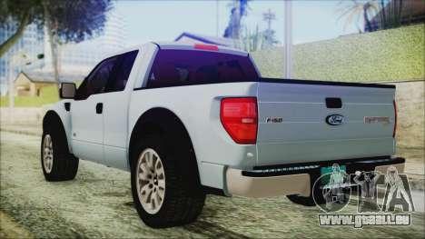 Ford F-150 SVT Raptor 2012 Stock Version pour GTA San Andreas laissé vue
