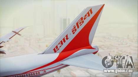 Boeing 747-237Bs Air India Akbar für GTA San Andreas zurück linke Ansicht