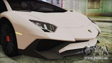 Lamborghini Aventador SV 2015 für GTA San Andreas Innenansicht