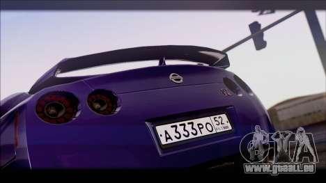 Nissan GT-R für GTA San Andreas zurück linke Ansicht