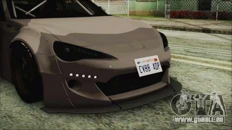 Toyota GT86 Rocket Bunny Tunable IVF pour GTA San Andreas vue arrière