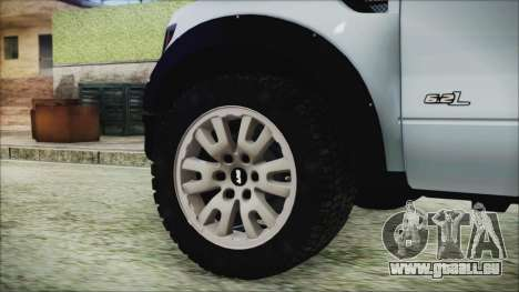 Ford F-150 SVT Raptor 2012 Stock Version für GTA San Andreas zurück linke Ansicht