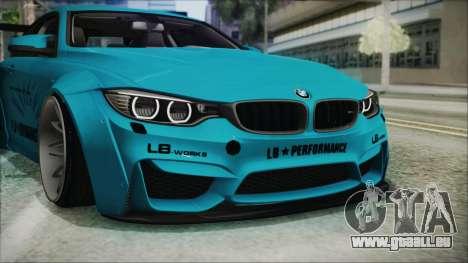 BMW M4 2014 Liberty Walk für GTA San Andreas obere Ansicht