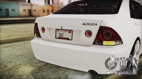 Toyota Altezza 2004 Full Tunable HQ pour GTA San Andreas vue intérieure