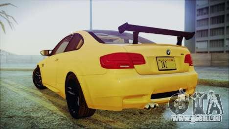 BMW M3 GTS 2011 IVF pour GTA San Andreas sur la vue arrière gauche