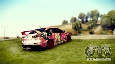 Mitsubishi Lancer Evolution Miku X Luka Itasha pour GTA San Andreas laissé vue