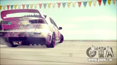 Mitsubishi Lancer Evolution Miku X Luka Itasha pour GTA San Andreas sur la vue arrière gauche
