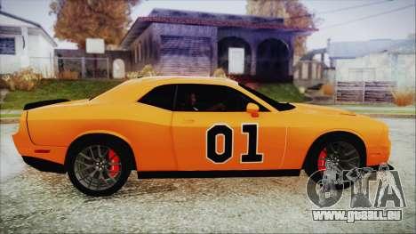 Dodge Challenger SRT 2015 Hellcat General Lee pour GTA San Andreas sur la vue arrière gauche