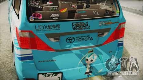 Toyota Alphard Hatsune Miku pour GTA San Andreas vue arrière