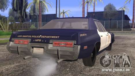 Dodge Monaco 1974 LSPD StickTop Version pour GTA San Andreas laissé vue