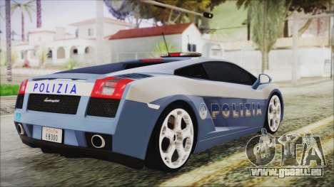 Lamborghini Gallardo 2004 Italian Polizia für GTA San Andreas linke Ansicht
