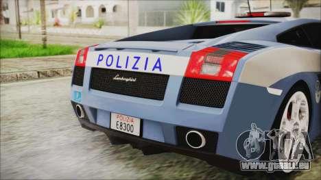 Lamborghini Gallardo 2004 Italian Polizia für GTA San Andreas Rückansicht