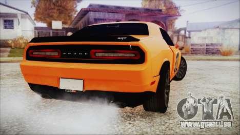 Dodge Challenger SRT 2015 Hellcat General Lee pour GTA San Andreas laissé vue
