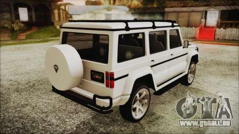 Benefactor Dubsta 4x4 Custom Tuning pour GTA San Andreas laissé vue
