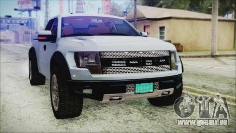 Ford F-150 SVT Raptor 2012 Stock Version pour GTA San Andreas vue de côté