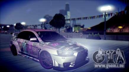 Mitsubishi Lancer Evolution Miku X Luka Itasha für GTA San Andreas
