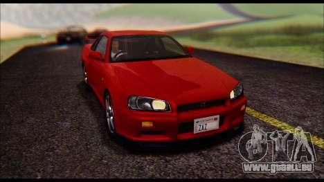 Nissan Skyline R-34 GT-R V-spec 1999 No Dirt pour GTA San Andreas vue arrière
