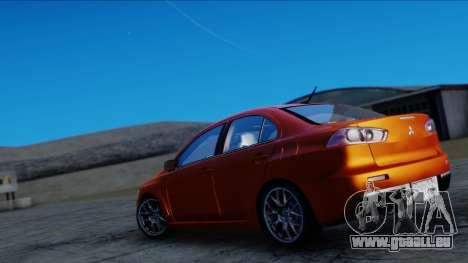 Mitsubishi Lancer Evolution X Tunable New PJ pour GTA San Andreas sur la vue arrière gauche