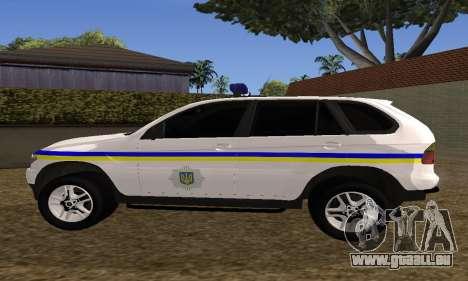 BMW X5 Ukranian Police für GTA San Andreas Rückansicht