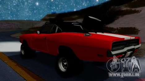 Dodge Charger 1969 Rusty Rebel pour GTA San Andreas sur la vue arrière gauche