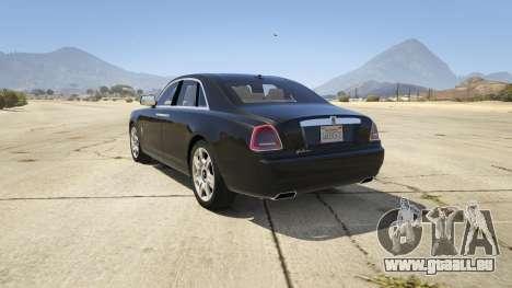 GTA 5 Rolls Royce Ghost 2014 arrière vue latérale gauche