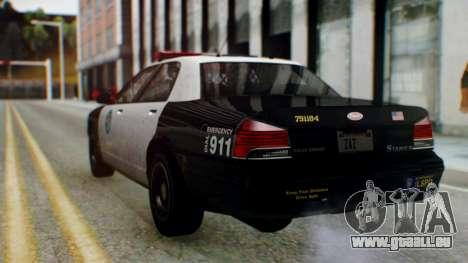 GTA 5 Vapid Stanier II Police pour GTA San Andreas sur la vue arrière gauche