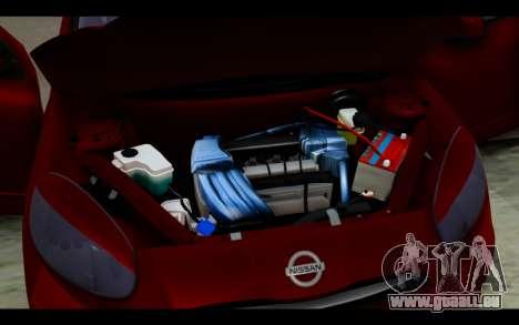 Nissan March 2011 Hellaflush pour GTA San Andreas vue de dessus