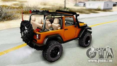 Jeep Wrangler Off Road pour GTA San Andreas sur la vue arrière gauche