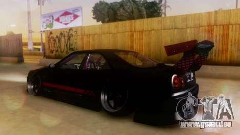 Nissan Skyline GT-R R34 Hella für GTA San Andreas zurück linke Ansicht