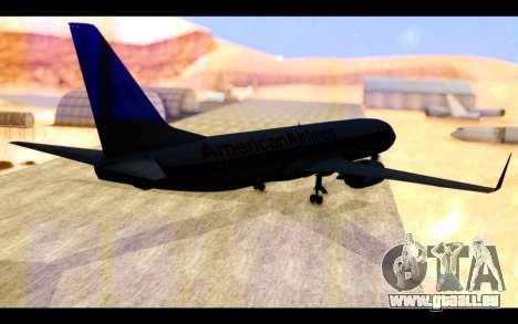 Boeing 737-800 American Airlines pour GTA San Andreas sur la vue arrière gauche